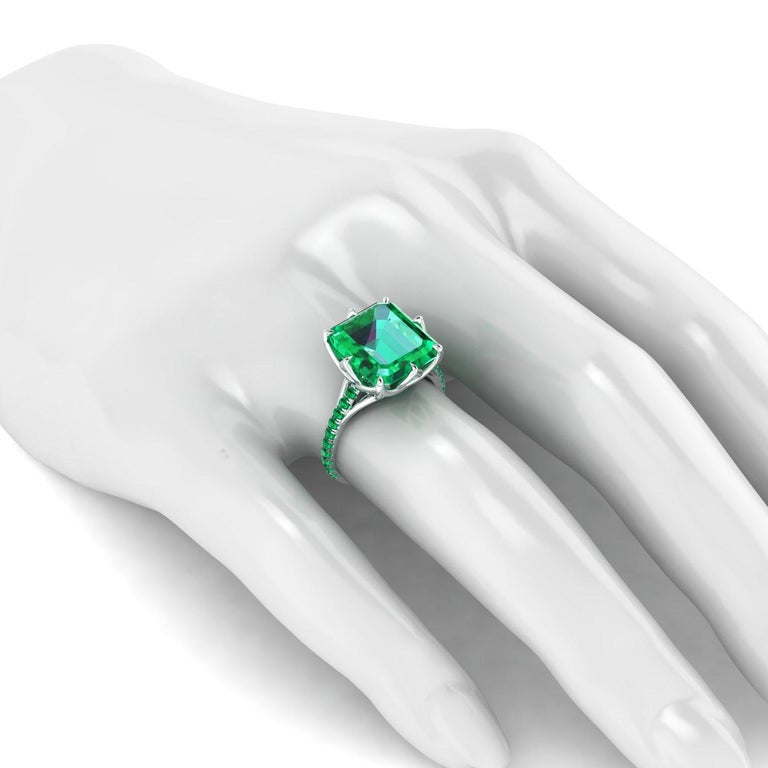 Women's GRS Certified 6.31 Carat Colombian Emerald in Platinum 950 Ring For Sale