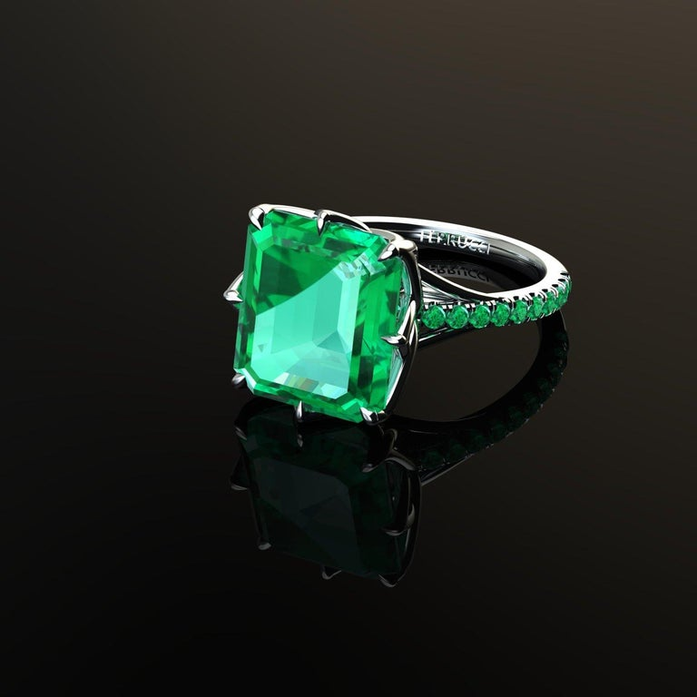 GRS Certified 6.31 Carat Colombian Emerald in Platinum 950 Ring For Sale 1