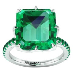 GRS Certified 6.31 Carat Colombian Emerald in Platinum 950 Ring