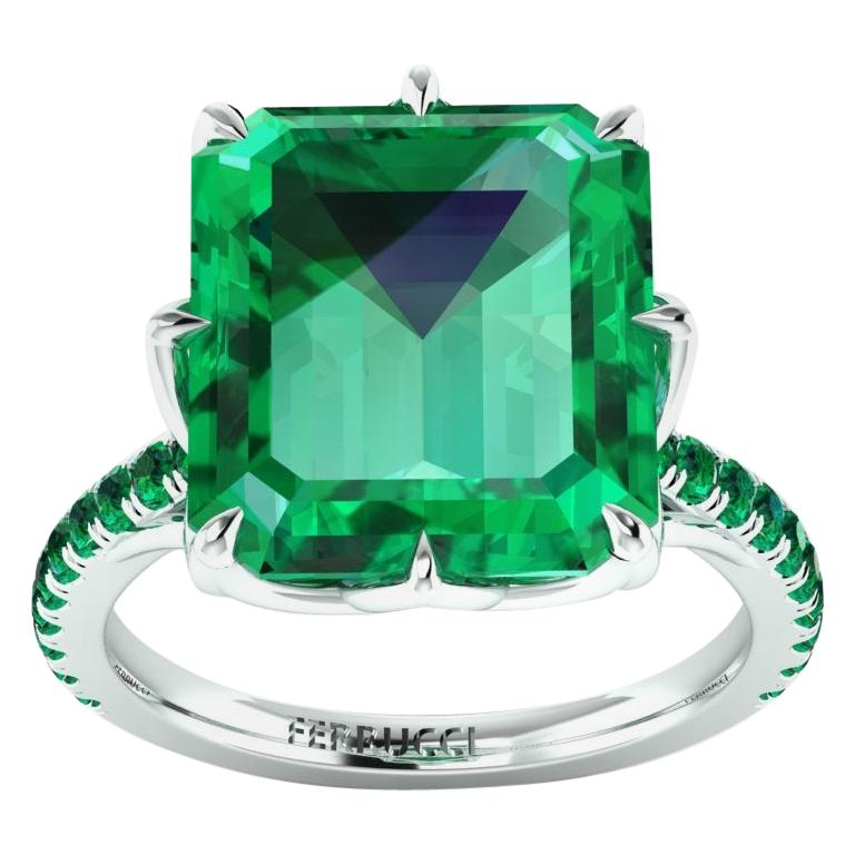 GRS Certified 6.31 Carat Colombian Emerald in Platinum 950 Ring For Sale