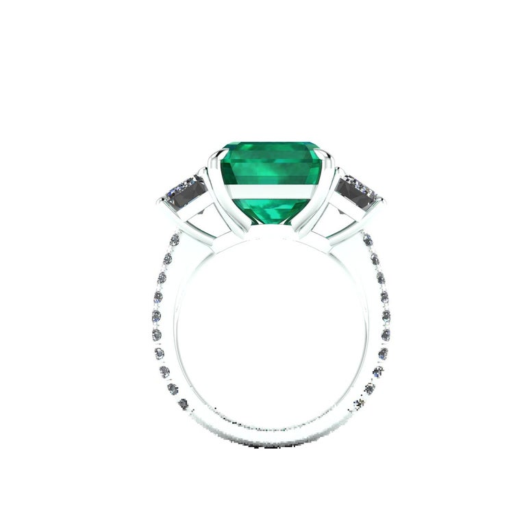 GRS Certified 6.31 Carat Emerald Cut Colombian Emerald Diamond Platinum Ring For Sale 5