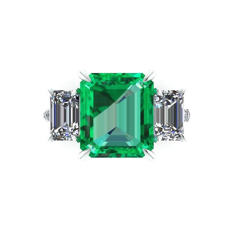 Art Deco GRS Certified 6.31 Carat Emerald Cut Colombian Emerald Diamond Platinum Ring For Sale