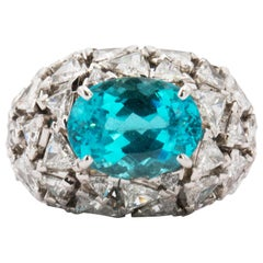 GRS Certified 6.45 Carat Paraiba Tourmaline Diamond Cocktail Ring