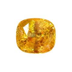 GRS Certified 69.70 Carat Cushion Shape Natural Sri Lankan Yellow Sapphire