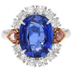 GRS Certified 7.25 Carat Oval-Cut Unheated Ceylon Sapphire and Diamond Ring