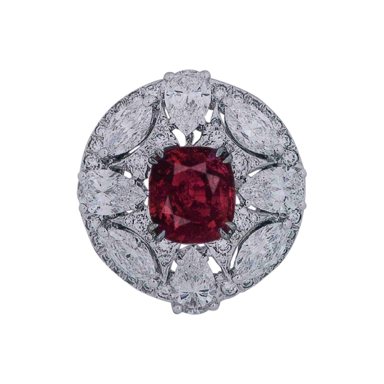 GRS Certified 7.72 Carat No Heat Burmese Pigeon's Blood Ruby Ring in Platinum