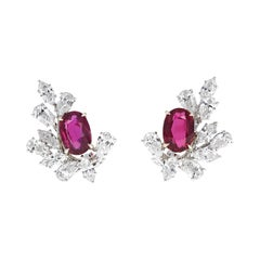 GRS Certified, 8.04 Carat Pigeon Blood Ruby and Diamond Lever-Back Earrings