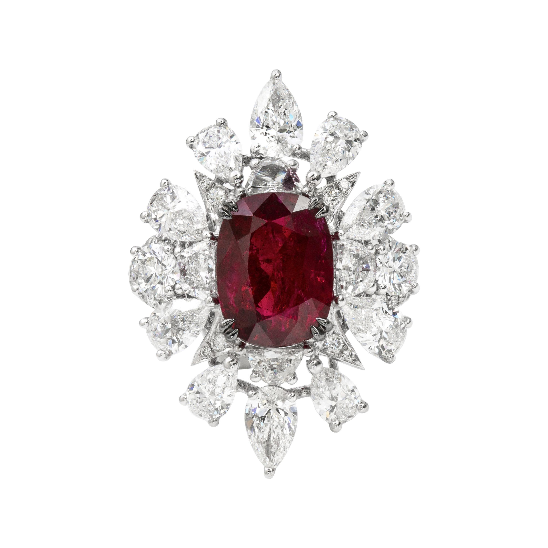 GRS Certified 9.21 Carat No Heat Burmese Pigeon's Blood Ruby Ring in Platinum