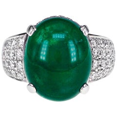 GRS Certified 9.55 Carat Colombian Emerald and Diamond Wedding Ring in Platinum