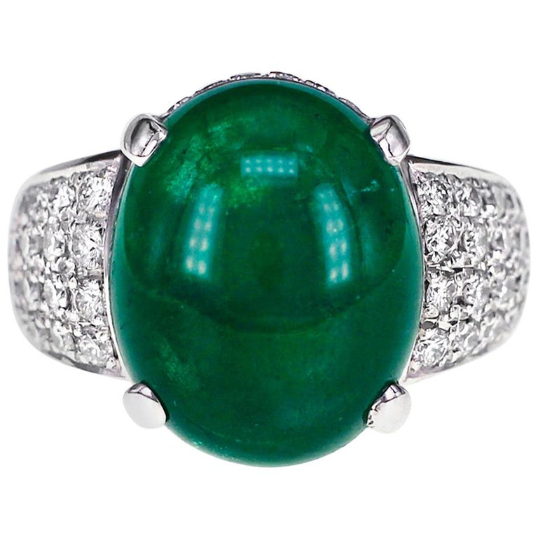 GRS Certified 9.55 Carat Colombian Emerald and Diamond Wedding Ring in Platinum For Sale