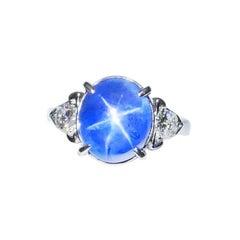 GRS Certified 9.83 Carat Sri Lanka No Heat Star Sapphire Diamond Cocktail Ring