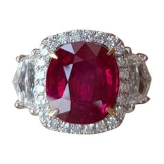 GRS Certified Authentic Burma Red Ruby 5 Carat Natural No Heat Ruby Diamond Ring