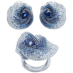 GRS Certified Blue Sapphires Diamonds 18 Karat White Gold Suite