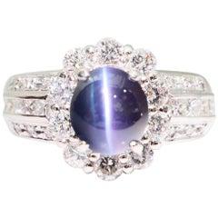 GRS Certified Brazil Color Change Alexandrite 2.12 Carat Cat's Eye Diamond Ring