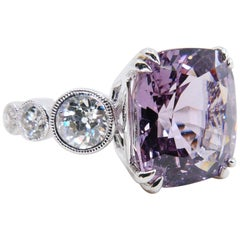 GRS Certified Burma No Heat Pastel Purplish Pink Spinel 8.95 Carat Diamond Ring