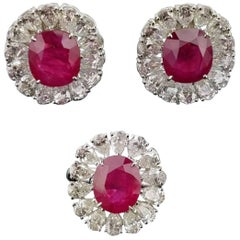GRS Certified Burma Ruby and Diamond Ring and Studs Suite
