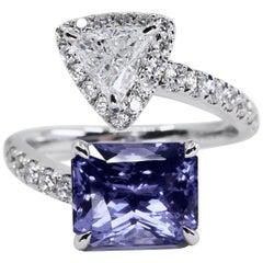 GRS Certified Ceylon No Heat Violet Sapphire 3.54 Carat and Diamond Ring