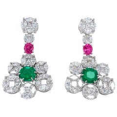 GRS Certified Colombian Emerald Pink Spinel, and Diamond Gold Earrings or Brooch