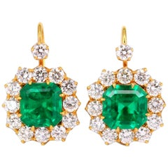 GRS Certified Colombian 'Muzo' Emerald and Diamond Earrings