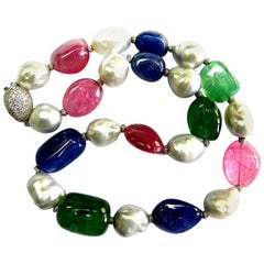 GRS Certified Emerald, Burmese Unheated Sapphire, and Pink Tourmaline Necklace