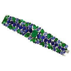GRS Certified Emerald Sapphire Diamond Bracelet
