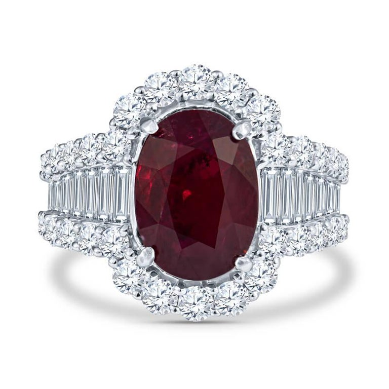Women's GRS Certified GRS Certified Ruby and Diamond Art Deco Cocktail Ring in 18KT Whit For Sale