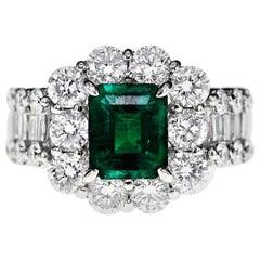 "GRS Certified Muzo Vivid Green ""Mariposa"" Colombian and Diamond Wedding Ring"