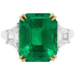GRS Certified Natural Colombian Emerald and White Diamond Ring in 18 Karat Gold