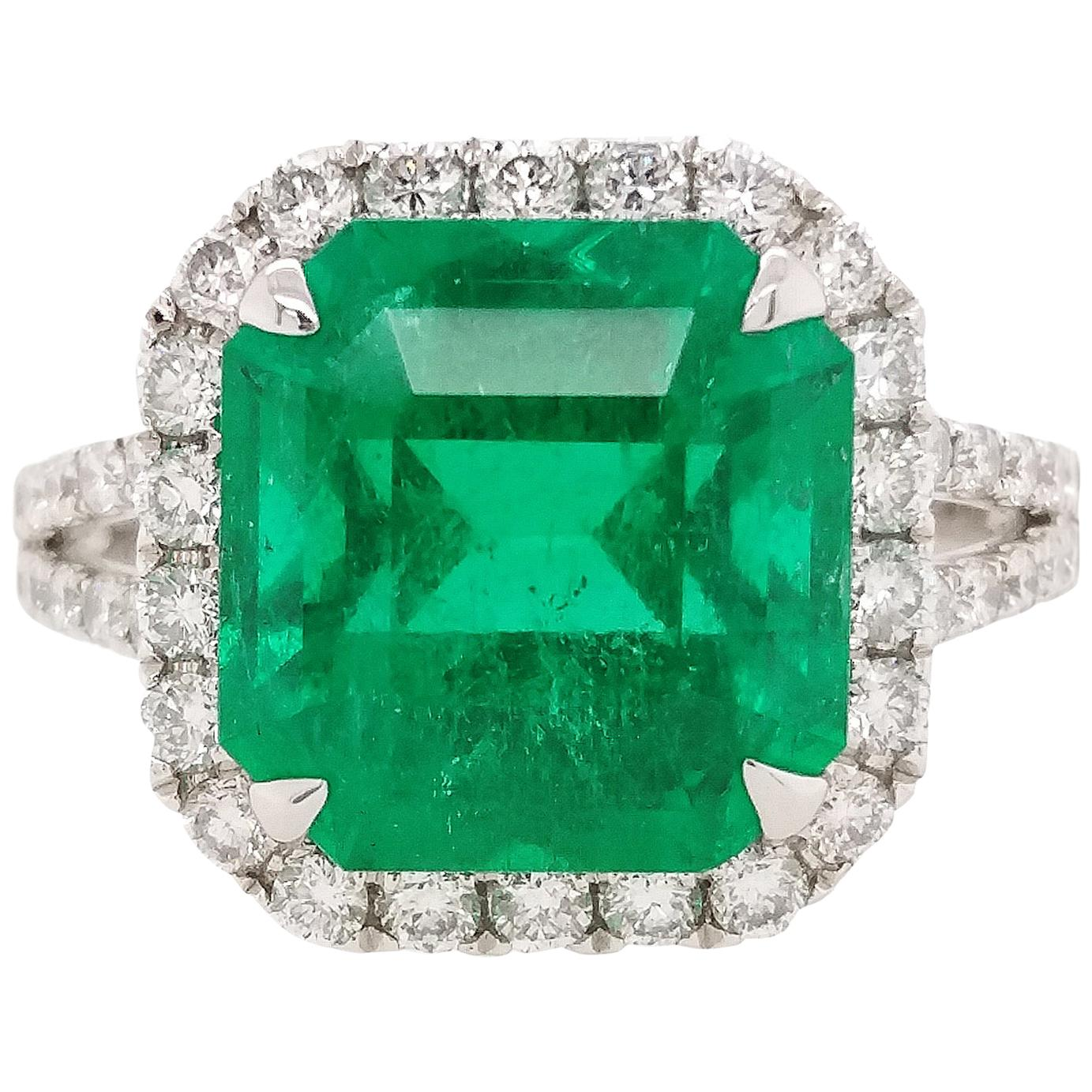 HYT GRS Certified Natural Colombian Emerald and White Diamond Platinum Ring