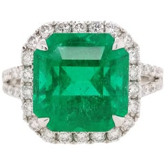 HYT GRS Certified Natural Colombian Emerald and White Diamond Ring in Platinum