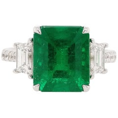HYT GRS Certified Natural Muzo Colombian Emerald and Diamond Ring in Platinum