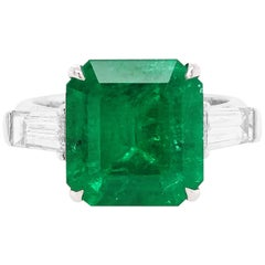 GRS Certified Natural Muzo Colombian Emerald and White Diamond Ring in Platinum
