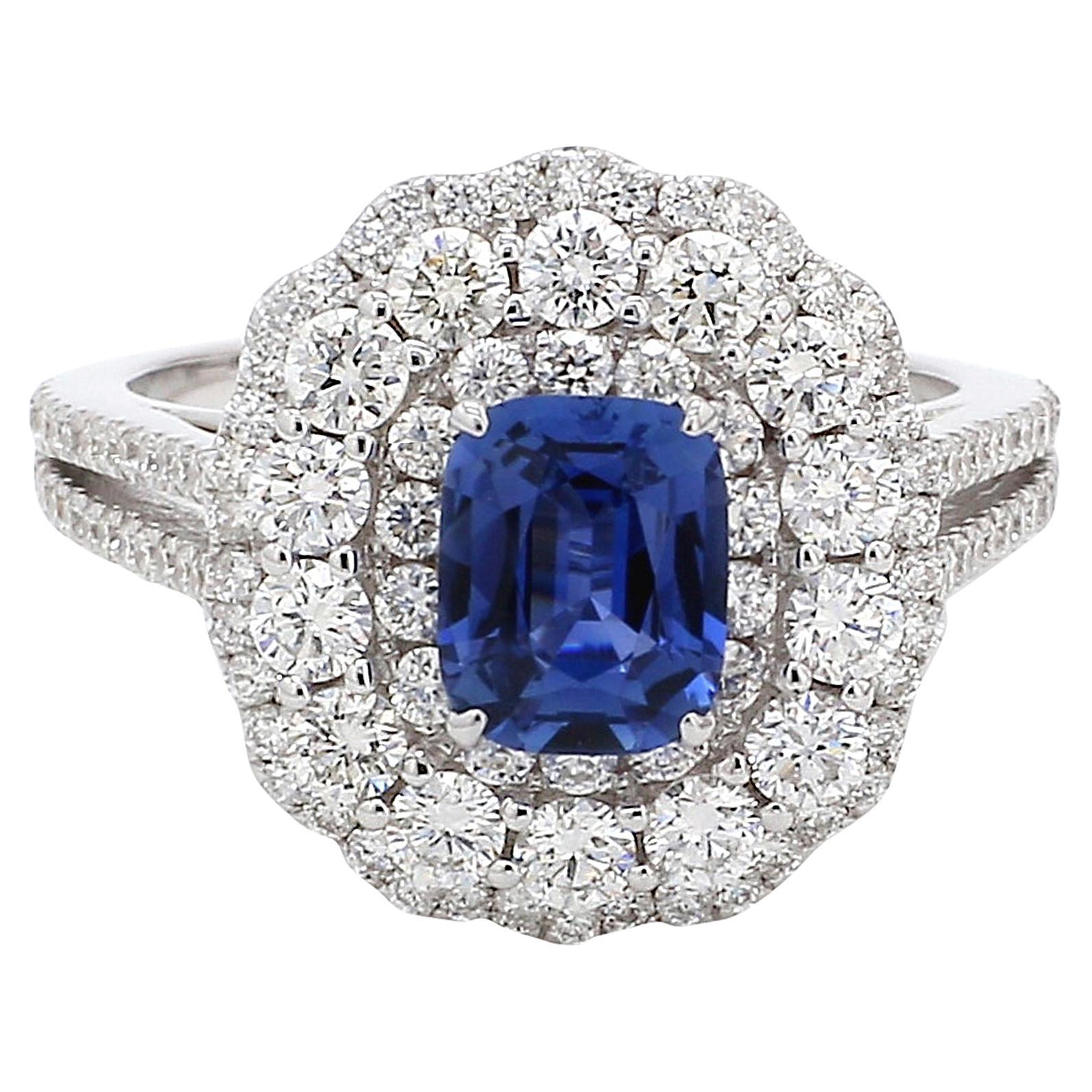 GRS Certified Natural No Heat Blue Sapphire Diamond 18 Karat White Gold Ring