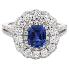 GRS Certified Natural No Heat Blue Sapphire Diamond 18 Karat White Gold Ring