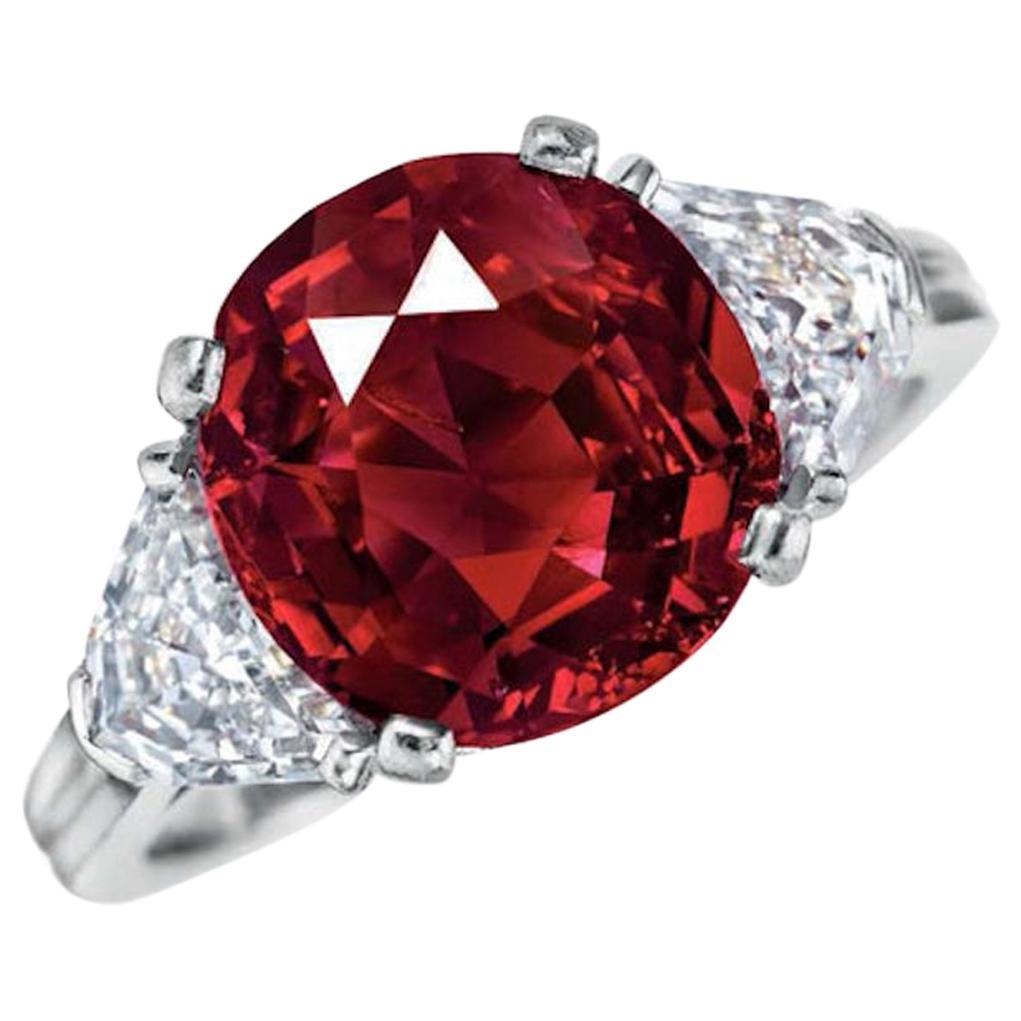 GRS Certified Natural No Heat Vivid Red Cushion Diamond Ring