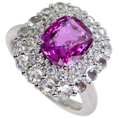 GRS Certified Natural Pink No Heat Sapphire and Rose Cut Diamond Cocktail Ring