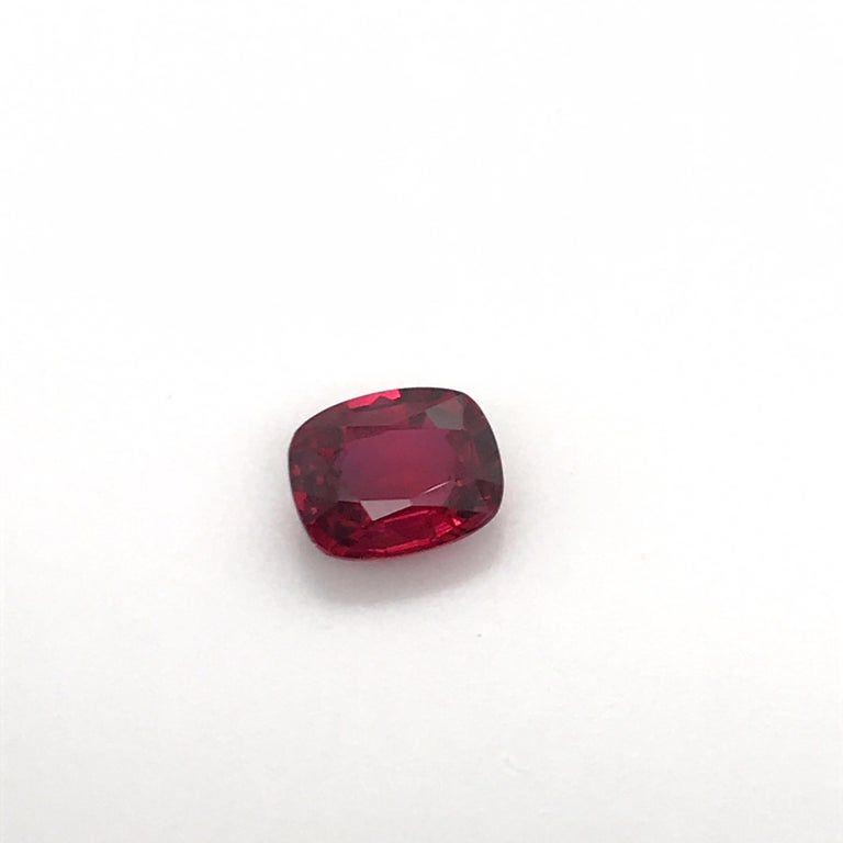 Women's or Men's GRS Certified Natural Ruby 2.26 Carat No Heat Vivid Red For Sale