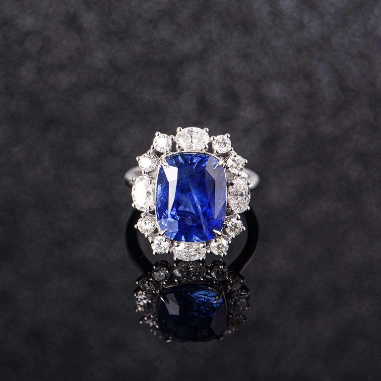 GRS Certified Natural SriLankan Cornflower Blue Sapphire Ring For Sale 2