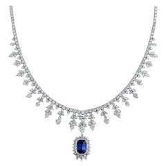 GRS Certified Natural Unheated 45.15 Carat Blue Sapphire Diamond Necklace