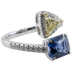 GRS Certified No Heat Blue Spinel 2.05Cts and Triangle Cut Yellow Diamond Ring