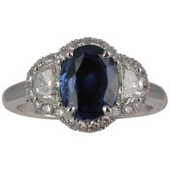 GRS Certified No Heated 2.07 Carat CEYLON Blue Sapphire Ring/ Heart Diamond Ring