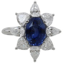 3.18 Carat Blue Sapphire Ring / 1.91 Cts Pear Diamonds Hearts Diamond Ring