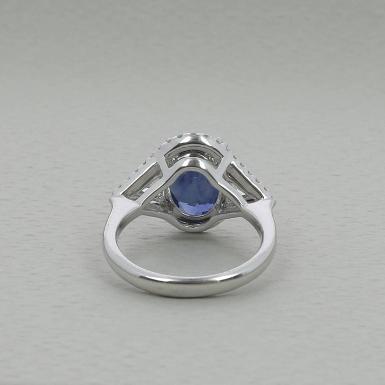 Oval Cut  5.07 Carat No Heated Blue Sapphire Cocktail Ring Trillion/Round Cut Diamonds  For Sale