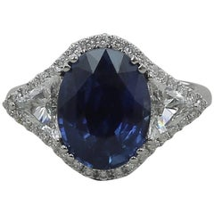 5.07 Carat No Heated Blue Sapphire Cocktail Ring Trillion/Round Cut Diamonds