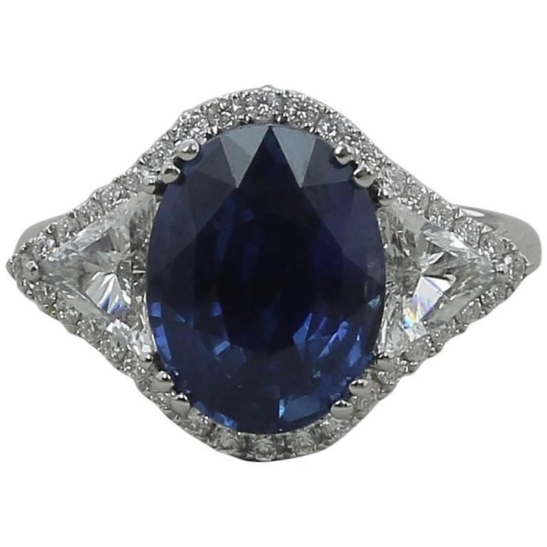 5.07 Carat No Heated Blue Sapphire Cocktail Ring Trillion/Round Cut Diamonds  For Sale