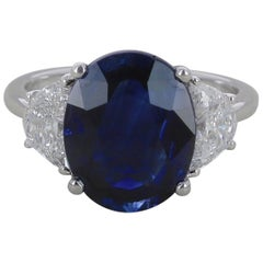 GRS Certified No Heated 6.19 Carat Deep Blue Sapphire Ring Engagement Ring