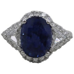 GRS Certified No Heated 6.97 Carat Vivid Blue Sapphire Ring Type Royal Blue