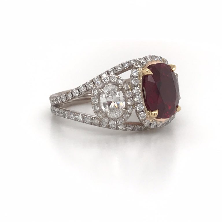 Contemporary GRS Certified Oval Pigeon Blood Ruby Diamond Ring For Sale