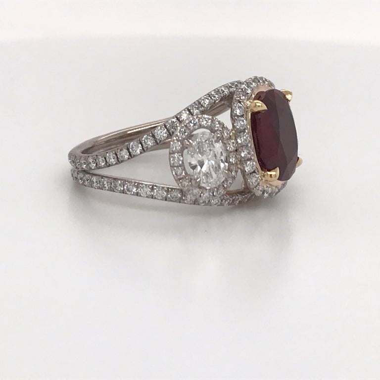 Oval Cut GRS Certified Oval Pigeon Blood Ruby Diamond Ring For Sale
