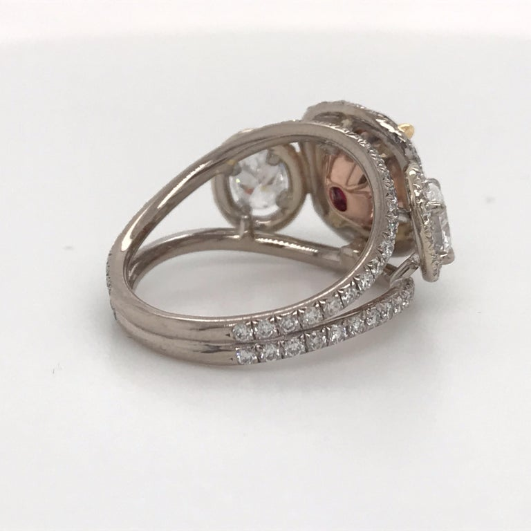 GRS Certified Oval Pigeon Blood Ruby Diamond Ring For Sale 1